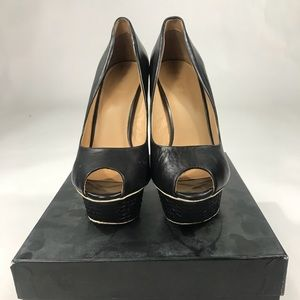 L.A.M.B. Leather Platform Peep Toe Pumps